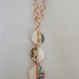 Paua and Rose Gold plated , long necklace.