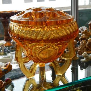 Amber Glass Rose Bowl Vase