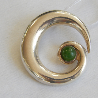 Sterling Silver and NZ Greenstone KORU Pendant