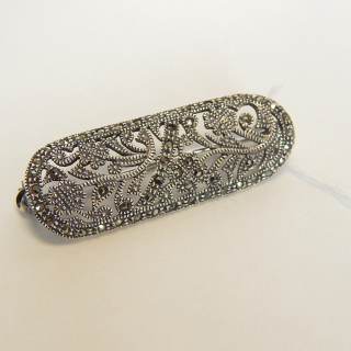 Sterling Silver Marcasite Brooch, STUNNING