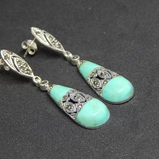 Sterling Silver and Marcasite Deco Earrings