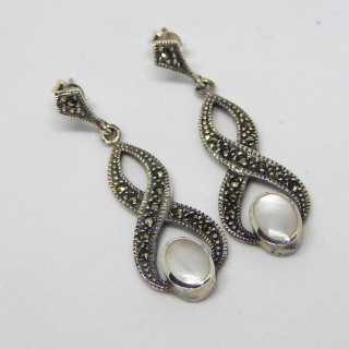 Mother of Pearl , Marcasite and Silver Earrings