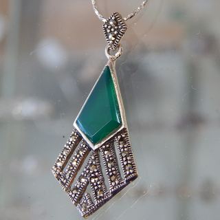 Sterling Silver Art Deco pendant on chain