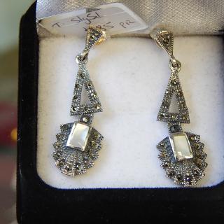 Sterling Silver M.O.P Deco earrings