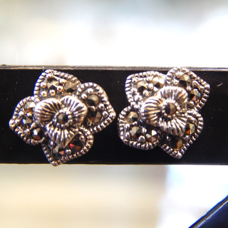 Sterling Silver Marcasite FLOWER stud Earrings