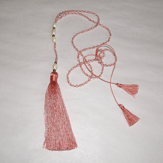 Pink crystal and Pearl TASSEL Necklace