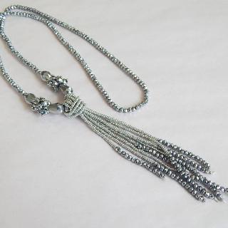 Silver bead Art Deco necklace