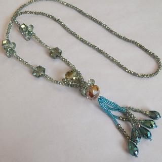 Art Deco Aqua coloured long necklace