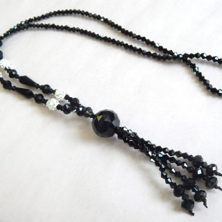Long Black Glass Deco beads