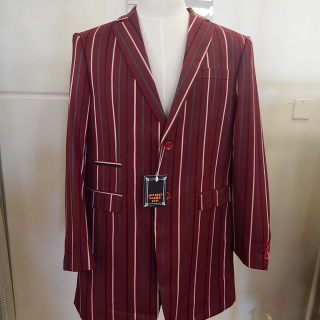 Maroon Striped Art Deco Tailored Jacket. L-4XL