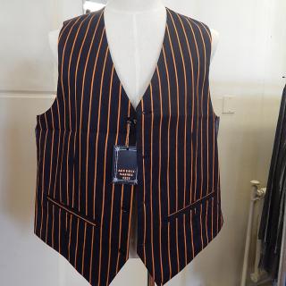 Black and Gold stripe Waistcoats. Large Sizes