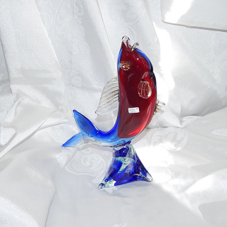 Murano Glass Red and Blue large fish