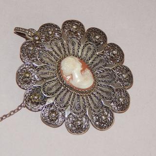 Filigree Silver Cameo Brooch, Pendant