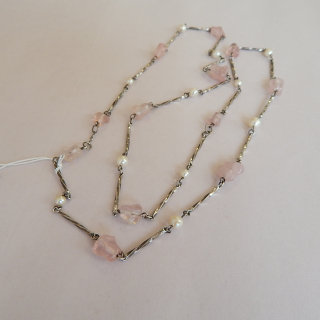 Sterling Silver Cultured Pearl and Rose Quartz Necklace