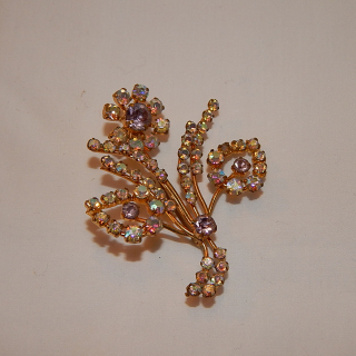 Gold Plated crystal 1950's brooch