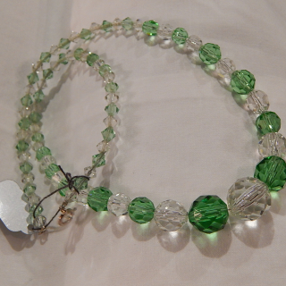 Vintage Green and Clear GLASS Necklace