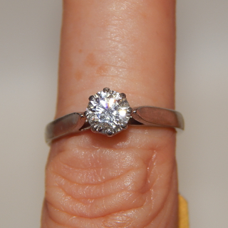 Platinum and .619 carat Diamond Ring (Colour F or higher)