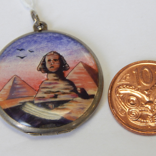Antique Sterling Silver and Enamel SPHINX Locket