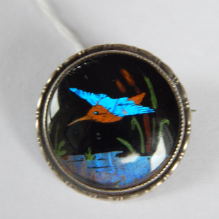 Sterling Silver and Butterfly Wing Brooch
