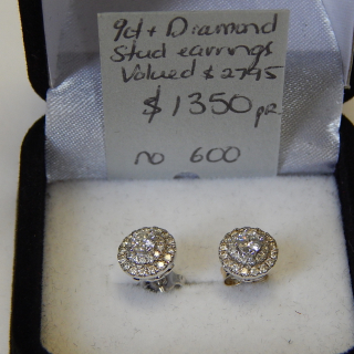 White Gold and Diamond Cluster Stud Earrings