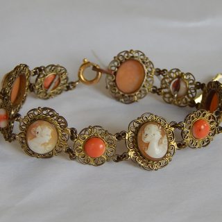 Vintage Cameo and Coral Bracelet