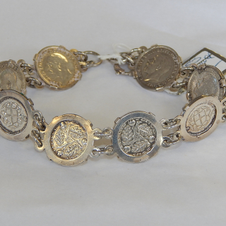 Sterling Silver English Threepence bracelet