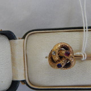 Gold, Diamond,Ruby and Sapphire stick pin in Tiffany box