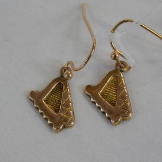 Celtic Harp Gold Earrings