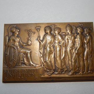 Bronze British Empire Exhibition Plaque . 1924