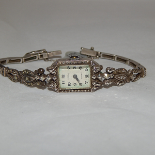Vintage Sterling Silver and Marcasite Wrist Watch