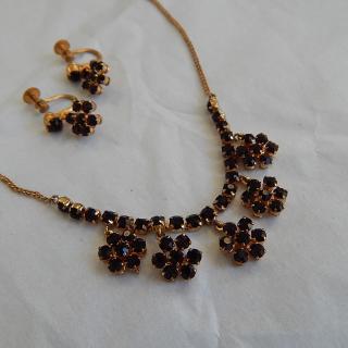 Imitation Garnet Necklace and Earring set.
