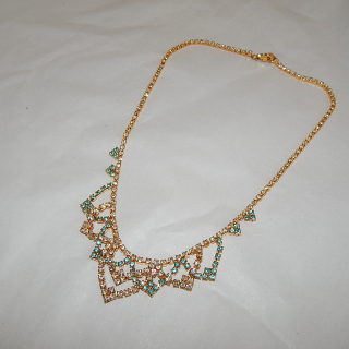 Gold plated Teal and white Diamantee Necklace