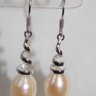 New Pearl Twist earrings set in Sterling Silver