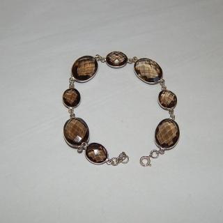 New Smokey Quartz and Silver Bracelet