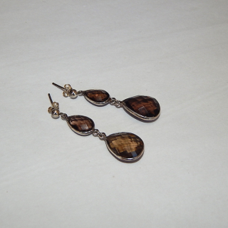 Silver and Smokey Quartz drop earrings