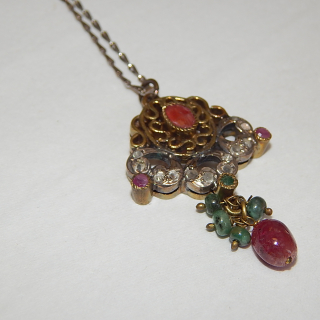 Emerald, Ruby, Silver and Bronze Necklace
