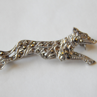 Small Silver Marcasite DOG Brooch