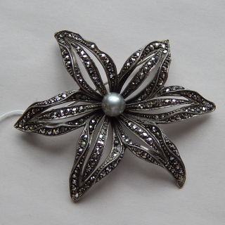 Stg Silver and Marcasite Flower Brooch