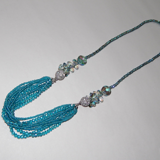 Pretty teal coloured Art Deco Necklace and Bracelet
