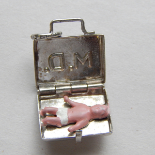 Doctors Bag with Baby Silver CHARM