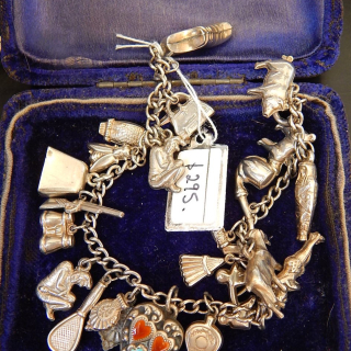 Very Rare Antique Silver Charms and Bracelet