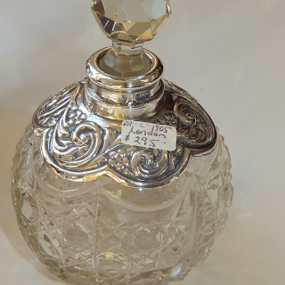 Sterling Silver and hobnail glass PERFUME c.1905