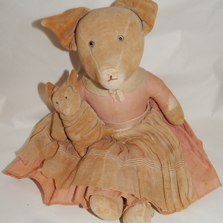 Antique Piglet and Baby Toy
