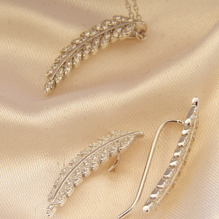 Sterling NZ Fern Earrings and Necklace