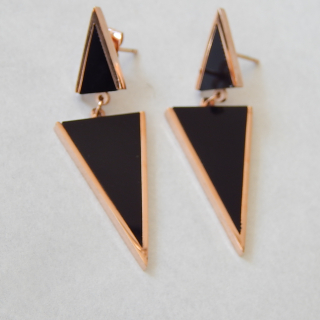 Black and Rose Gold Triangular NEW Earrings