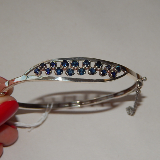 Sterling Silver and sapphire Snap Bracelet