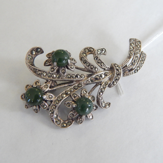 NZ Greenstone, Marcasite and Silver Brooch