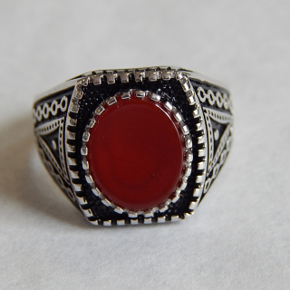 Gents NEW Silver and Cornelian Signet ring