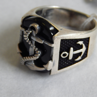 Gents NEW Onyx and Silver ANCHOR Signet Ring
