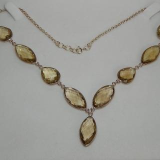 Lemon Quartz Sterling silver drop Necklace.